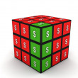 Three dimensional currency puzzle cube — Stockfoto #1659545