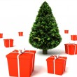 3d hristmas tree with gifts pack around — Stock Photo
