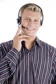 Customer care executive communicating — Stock Photo