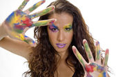 Woman with colorful make up — Stock Photo