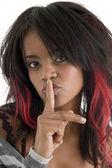 žena žádá, aby své mlčení — Stock fotografie