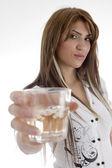 Female holding wine glass — Stock Photo