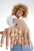 Woman showing her finger rings — Stock Photo
