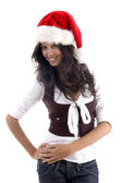 Attractive female in christmas hat — Stock Photo