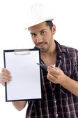 Intelligent architect with note pad — Stock Photo