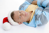 High angle view of man in christmas hat — Stock Photo