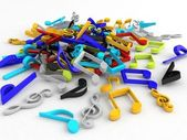 3d bunch of musical notes — Stock Photo