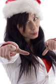 Attractive woman pointing with fingers — Stock Photo