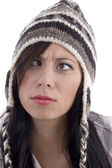 Female model wearing woolen cap — Stock Photo