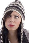 Female model wearing woolen cap — Stock Photo
