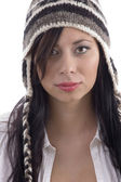 Beautiful woman wearing woolen cap — Stock Photo