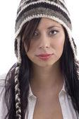 Beautiful woman wearing woolen cap — Stock Photo