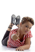 Pretty female model showing thumbs up — Stock Photo
