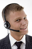 Close up view of young service provider — Stock Photo