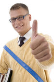 Student in spectacles with thumbs up — Stock Photo