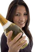 Beautiful woman handling champaign — Stock Photo