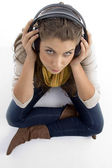 High angle view of woman wearing headset — Stock Photo