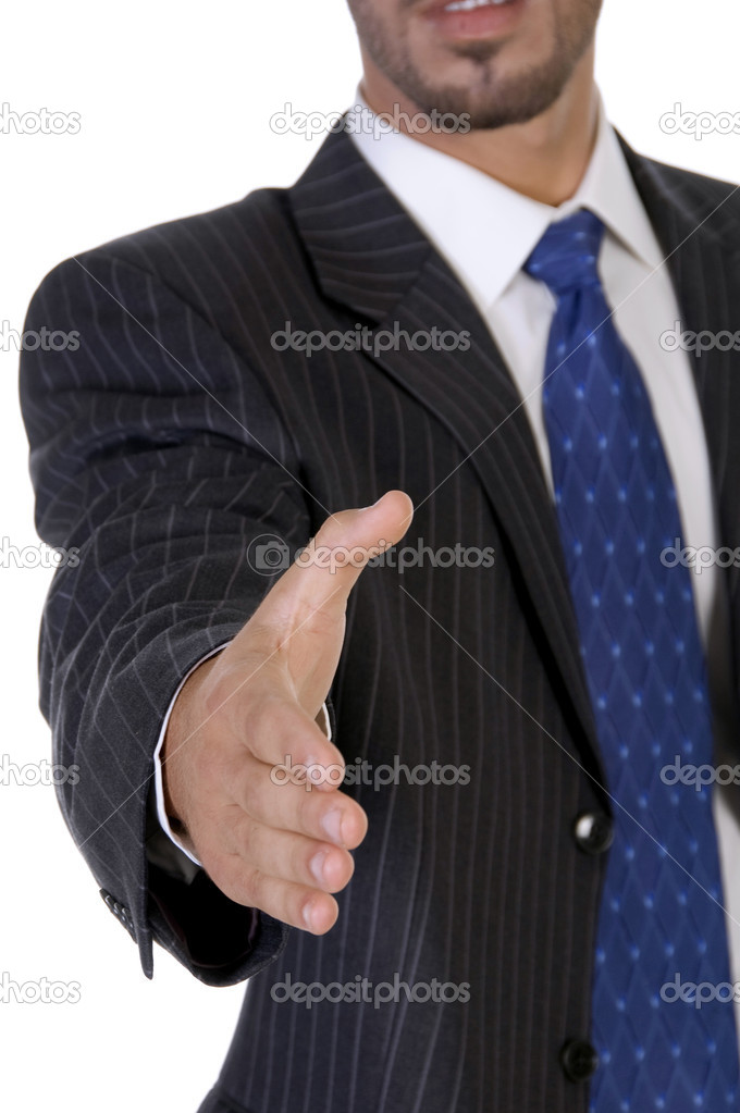 Man offering hand shake on an isolated background — Stock Photo #1652147