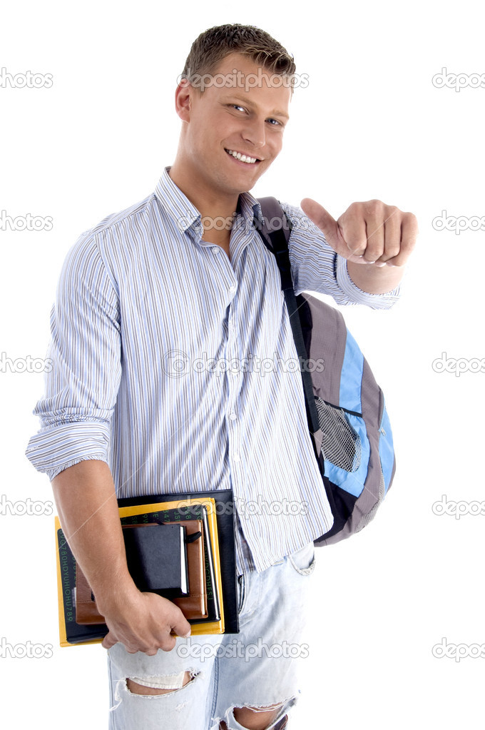 College student with books and backpack on an isolated white background — Stock Photo #1652301
