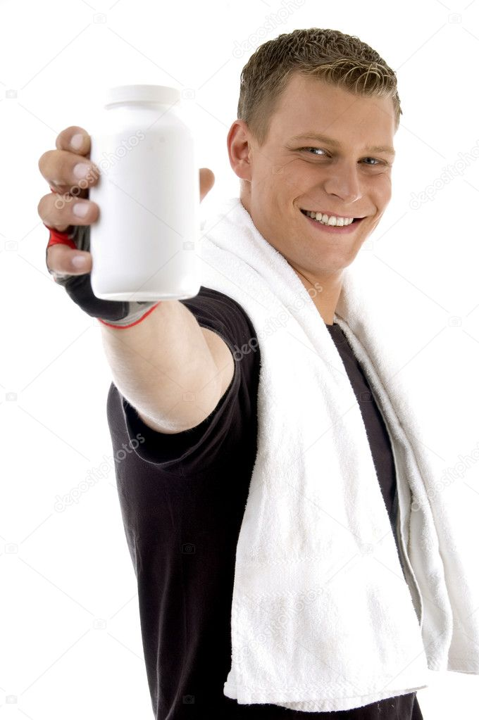 Pleased man showing bottle on an isolated white background — Stock Photo #1652539
