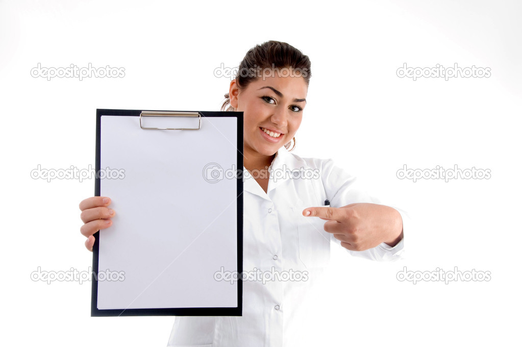 Smiling doctor indicating the writing board against white background — Foto Stock #1652891