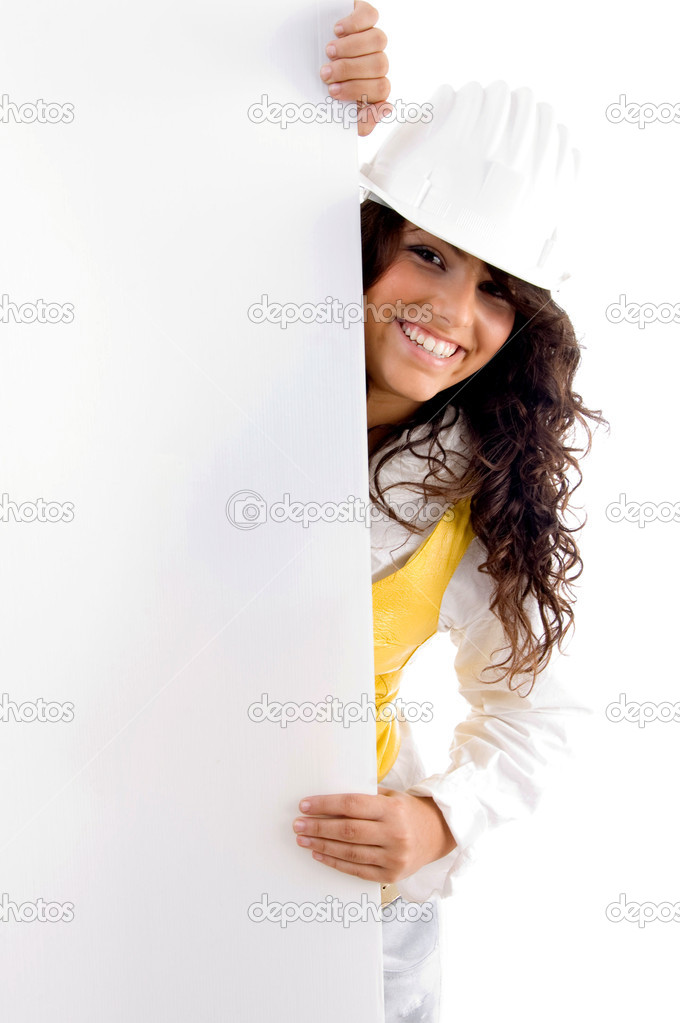 Young architect with placard on an isolated white background — Stock Photo #1652930