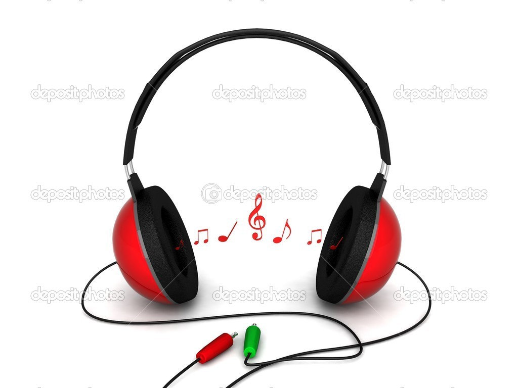 Headphones Music Notes: 3d Headphones With Cord And Music Notes