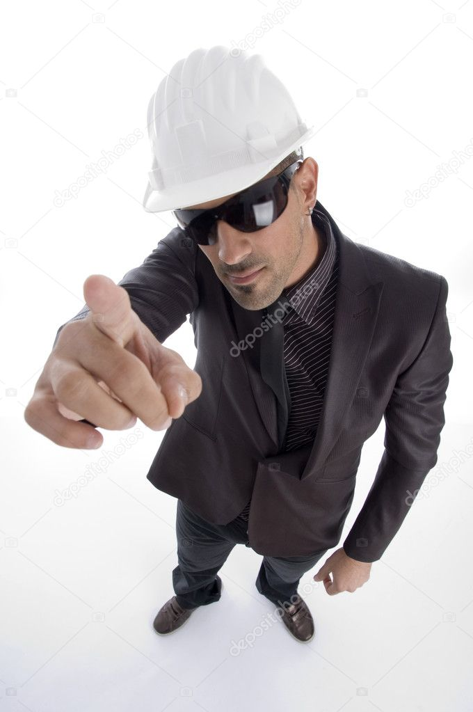 Aerial view of male wearing helmet on an isolated studio picture — Stock Photo #1655541