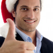 Businessman gesturing thumbs up — Stock Photo