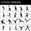 Silhouette of stylish male dancers — Stock Photo