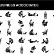 Silhouette of businesspeople with laptop — Stockfoto