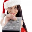 Beautiful young woman holding tv remote — Stock Photo #1661109