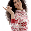 Pretty young woman pointing aside — Stock Photo