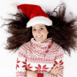 Top view of female wearing christmas hat — Stock Photo