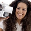Photographer making video with handy cam — Stock Photo #1662094