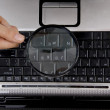 Close up view of keyboard through lens — Stock Photo