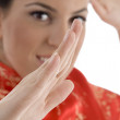 Close up of woman showing karate gesture — Stock Photo #1662242