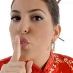 Female showing keep shushing sign — Stock Photo