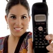 Stock Photo: Attractive female showing cell phone