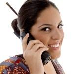 Female talking on mobile — Stock Photo