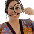 Stock Photo: Japanese female with magnifying glass