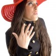 Stock Photo: Beautiful female in hat posing in style
