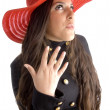 Beautiful female in hat posing in style — Stock Photo