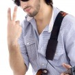 Guy holding guitar, gesturing victory — Stock Photo