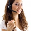 Call center female pointing at camera - Stockfoto