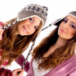 Pretty girls dressed in winter outfit — Stock Photo