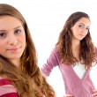 Beautiful young girls posing at camera — Stock Photo