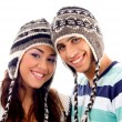 Close up view of teens friends smiling — Stock Photo