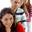 Stock Photo: Gang of four best friends, smiling