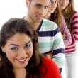 Gang of four best friends, smiling — Stock Photo